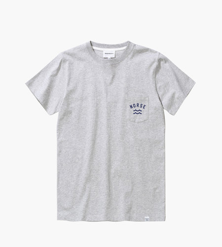 Norse Projects Norse Projects Niels Ivy Wave Logo Tee Light Grey Melange