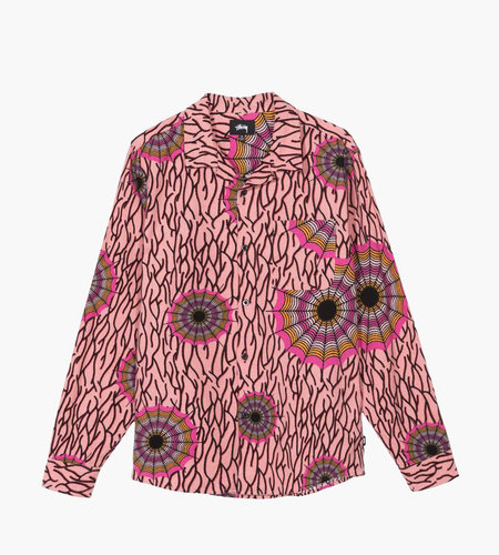 Stussy Stussy Spider Web Flannel LS Shirt Pink