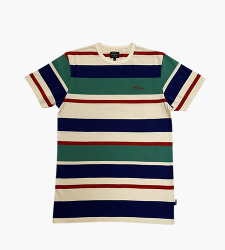 Ceizer Ceizer Embroidery Striped T-Shirt Creme Green Blue Red