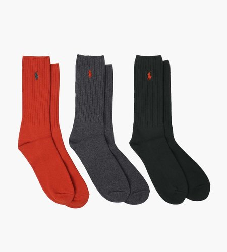 Polo Ralph Lauren Polo Ralph Lauren Classic Crew Socks 3 Pack Oran Red Charcoal College Green