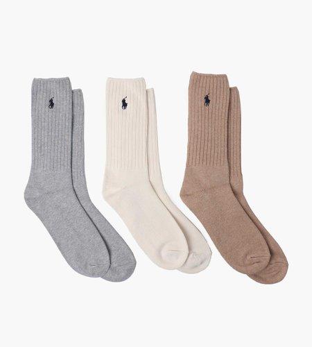 Polo Ralph Lauren Polo Ralph Lauren Classic Crew Socks 3 Pack ANDOVER Grey Warm Cream Class Melange