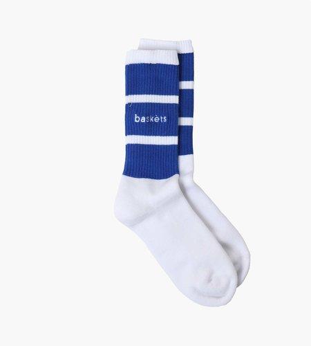 Baskèts Baskèts Classic Stripe Socks White Royal Blue OS