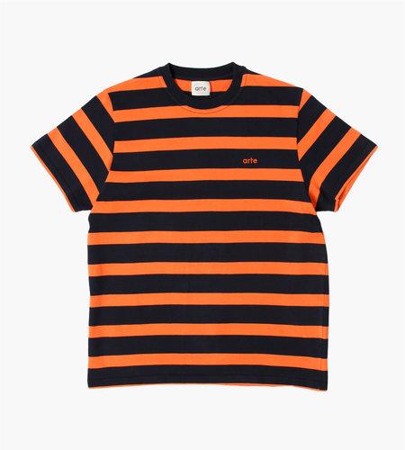 Arte Antwerp Arte Antwerp Tomi Stripes T-Shirt Navy Orange