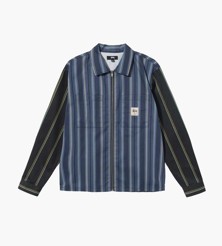 Stussy Stussy Mix Stripe Zip Up Work Longsleeve Stripe