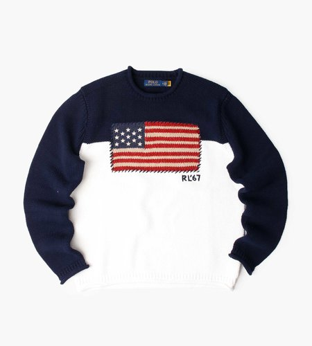 Polo Ralph Lauren Polo Ralph Lauren M Classics 2 CB Flag Long Sleeve Sweater Navy White