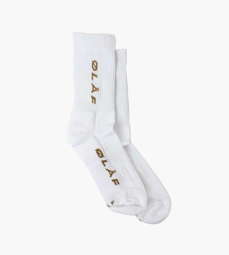 OLAF OLAF Italic Socks White Golden Palm