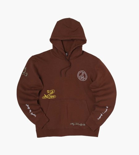 Reception Reception Hooded Sweat Brushed Fleece Choco Brown