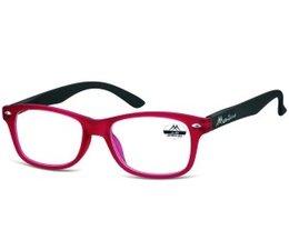 Wayfarer model leesbril in rood met zwarte veren