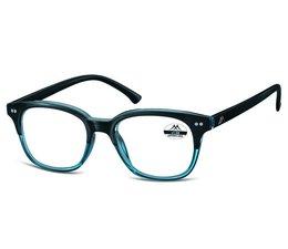 Vintage leesbril in blauw met zwarte veren