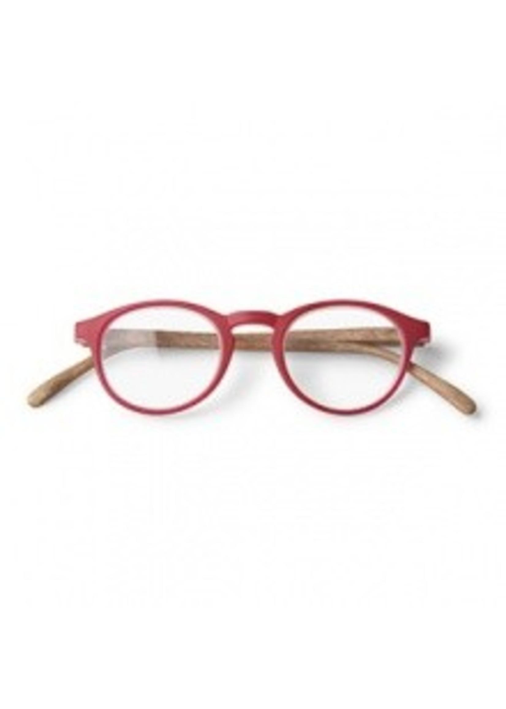 Dokters Leesbril hout-look rood