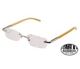 Ofar Stijlvolle Leesbril Randloos in natuurlijk Bamboe