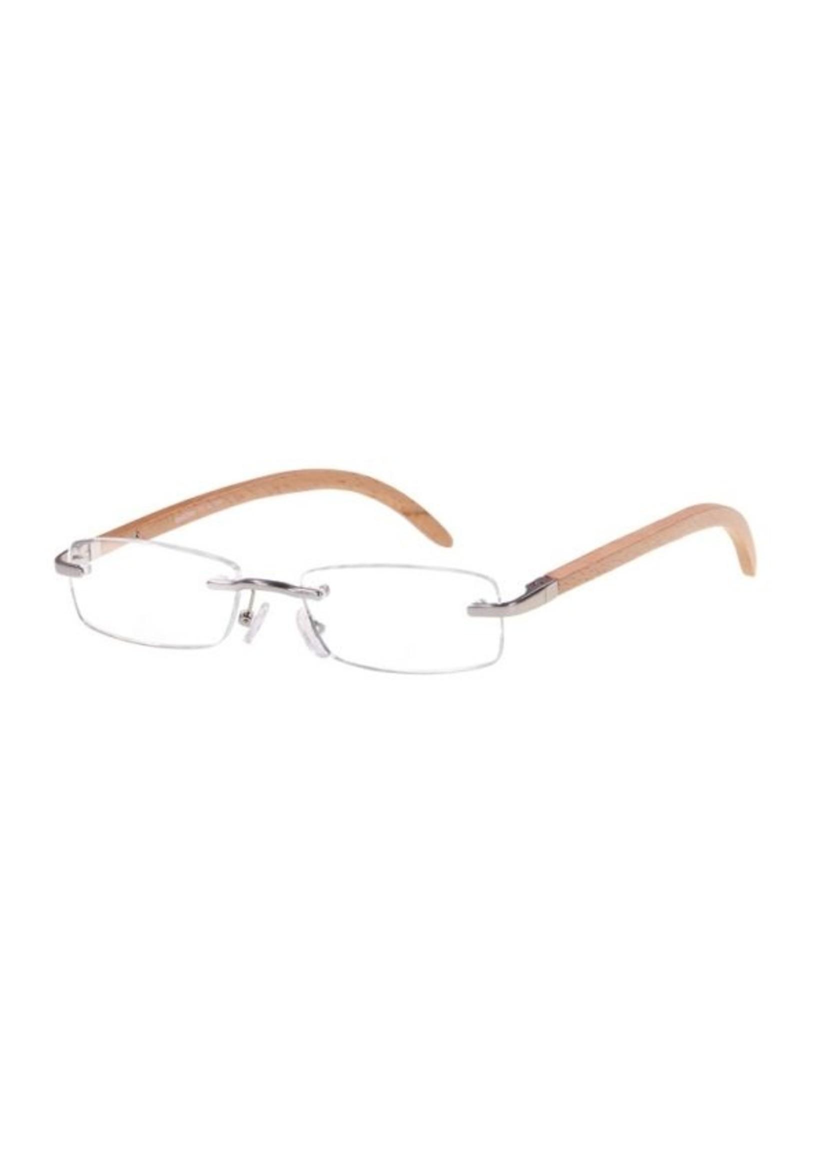 Ofar Ofar Stijlvolle Leesbril Randloos in natuurlijk Bamboe