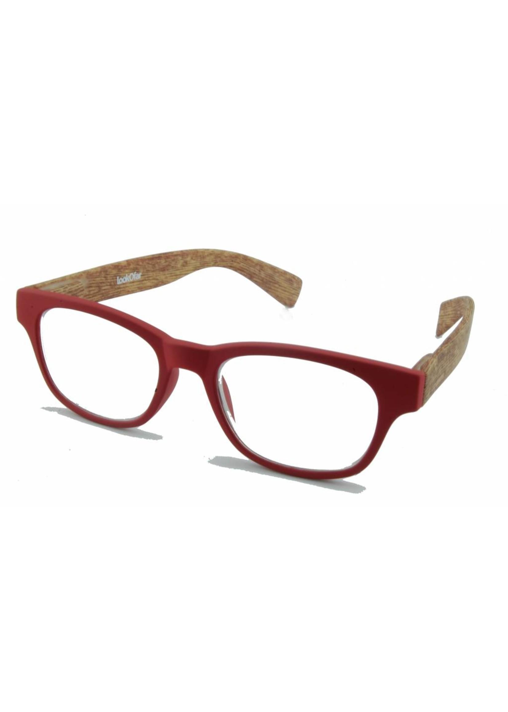 Leesbril Wahfarer look Red Wood