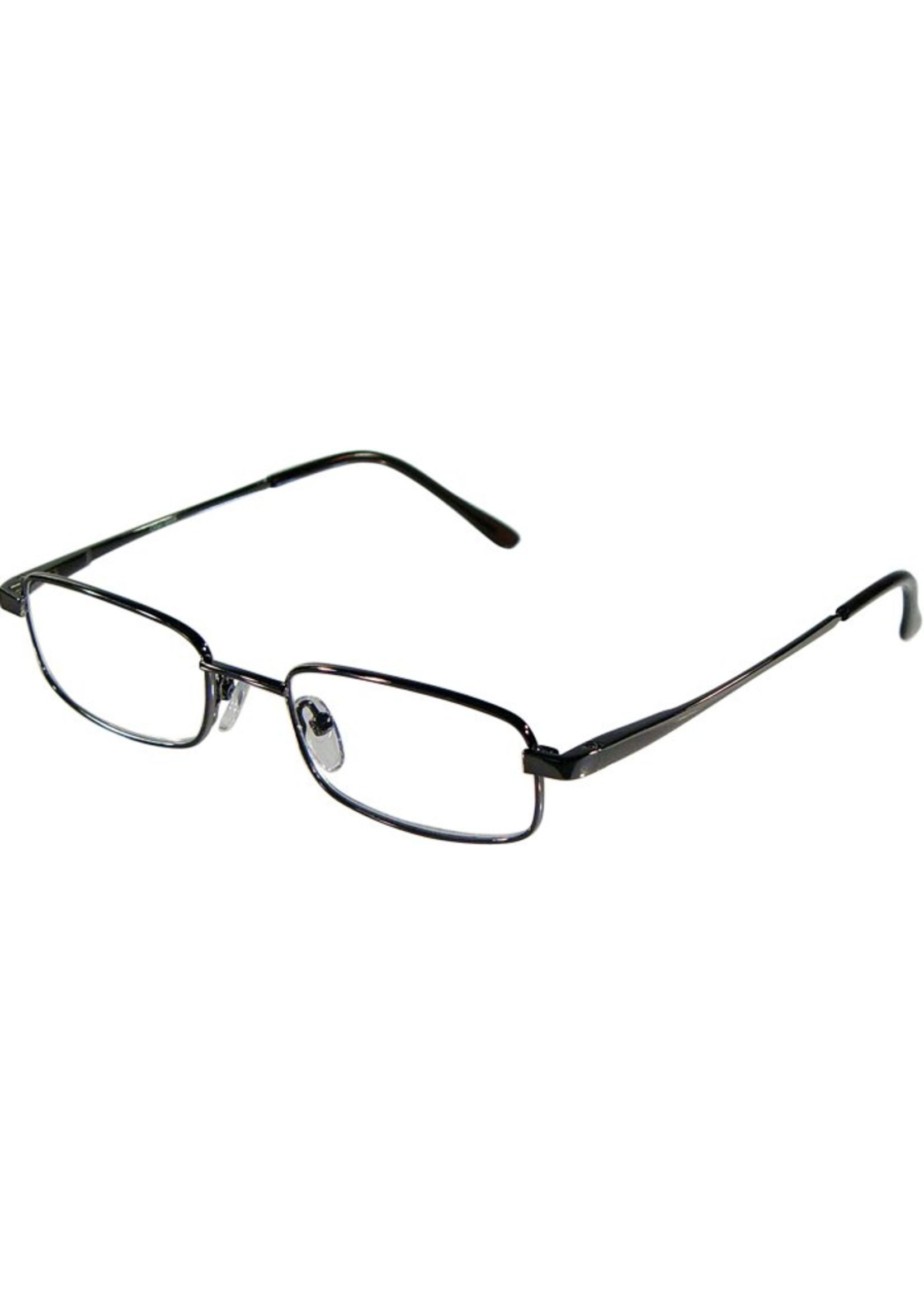 Basic Leesbril LEO 115  in Gun metaal met flexibele veren