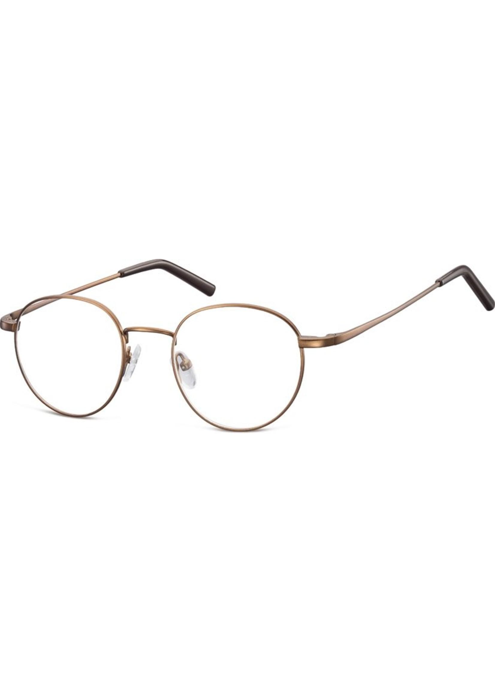 Panto bril Bernie in mat goud met ontspiegelde, kraswerende glazen