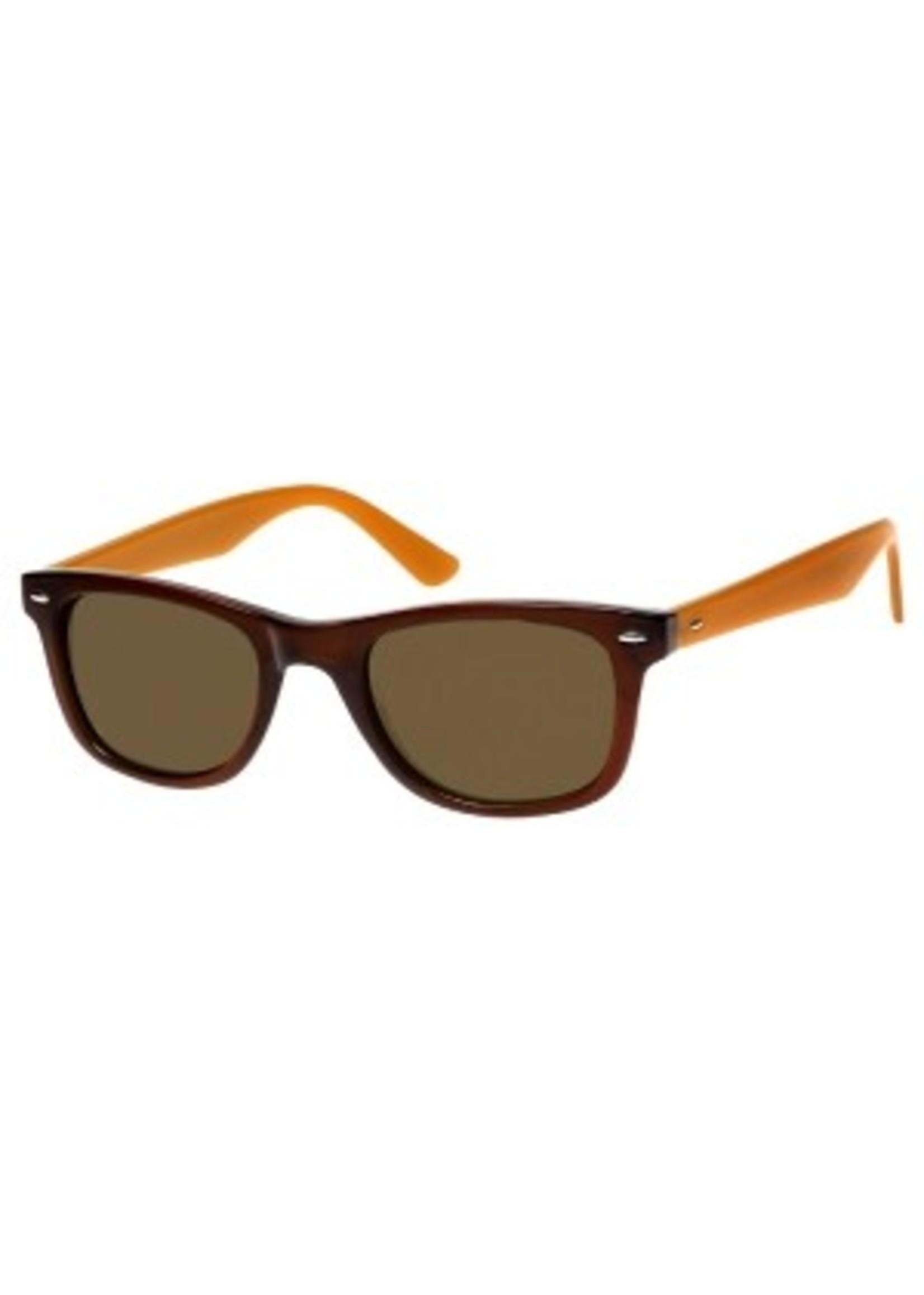 wayfarer leesbril in donkerbruin met caramel veren