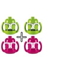 OXO tot Set van 4 stuks OXO tot Sippy beker met handvaten (200 ml)  (2 X Roze en 2 x Groen)