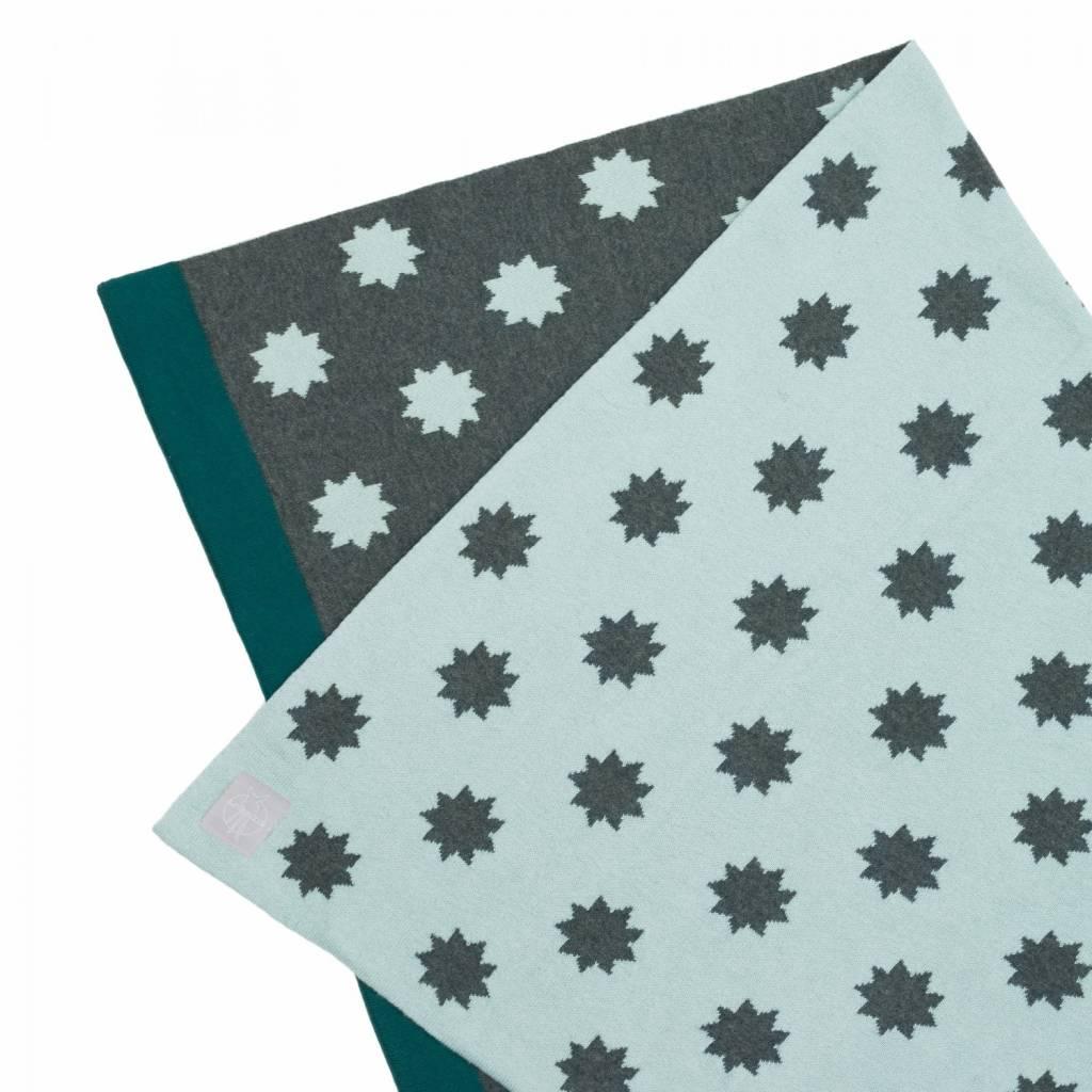 Lässig Lässig babydeken, gebreid 100% organische katoen stars  licht mint / grijs