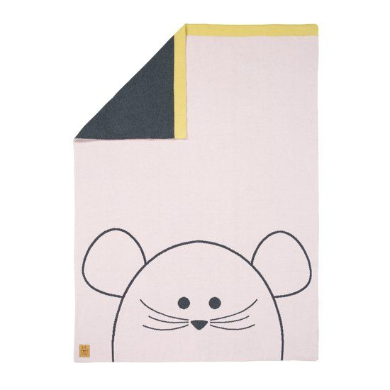 Lässig Lässig Babydeken gebreid 100% organische katoen Little chums mouse lichtrose/grijs