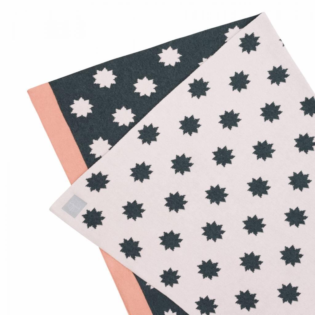 Lässig Lässig Babydecke, gestrickt 100% Bio Baumwolle Sterne hellrosa / grau