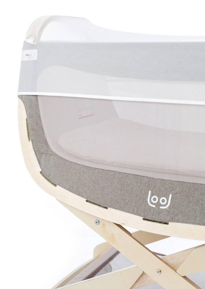 LOOL LOOL Wieg met Standaard wit, incl. muggennet, matrashoes en ophangriem