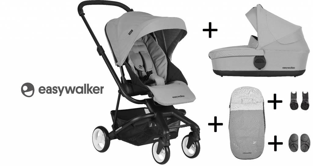 Easywalker Easywalker Charley Kinderwagen + Reiswieg + Voetenzak + Autostoel-adapter en Hoogte-adapter Cloud Grey
