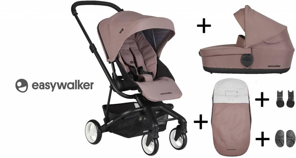Easywalker Easywalker Charley Kinderwagen + Reiswieg + Voetenzak + Autostoel-adapter en Hoogte-adapter Desert Pink