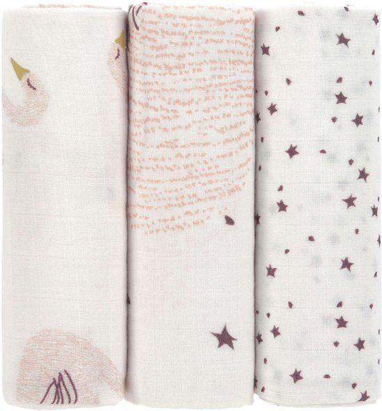 Lässig Lässig Heavenly soft swaddle doek / luier L 3 stuks Little Water Swan 80 x 80 cm
