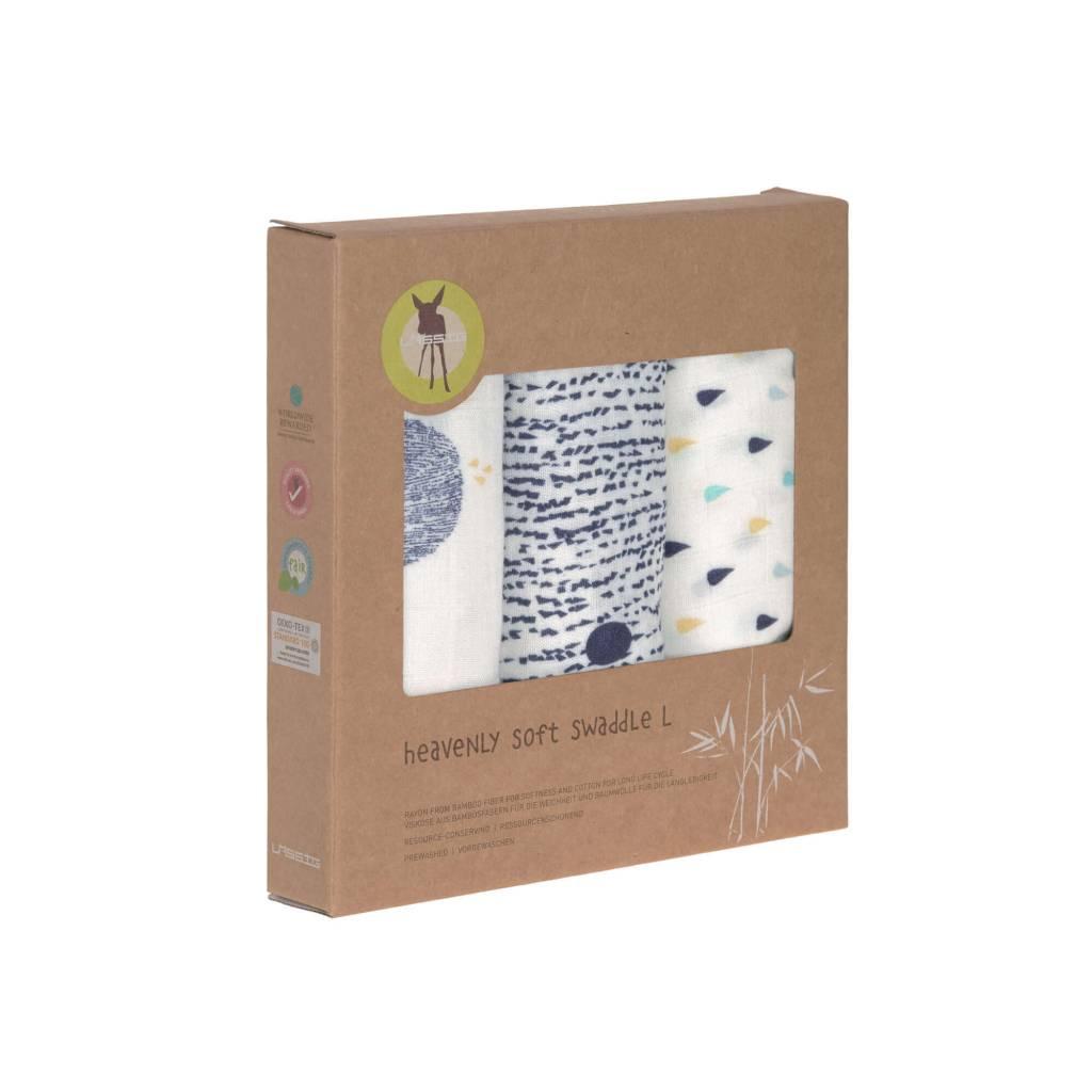 Lässig Lässig Heavenly soft swaddle doek / luier L 3 stuks Little Water Whale 80 x 80 cm