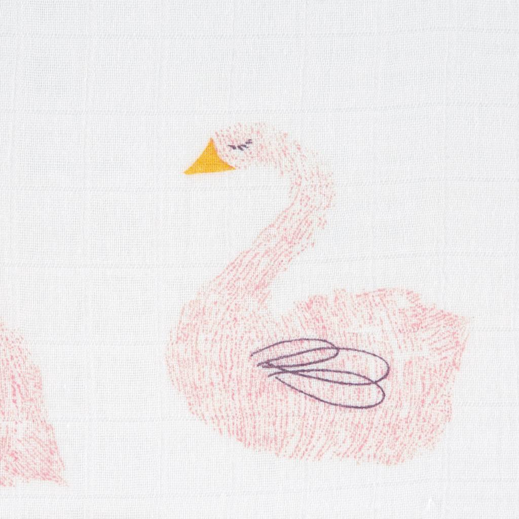Lässig Lässig Himmlisch weiches Wickeltuch / Windel XL 2 Stück Little Water Swan 120 x 120 cm