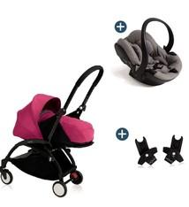 Babyzen Babyzen Yoyo+ buggy 0+ Rose, frame zwart incl. autostoel Babyzen iZi Go Modular by BeSafe grijs (2018)