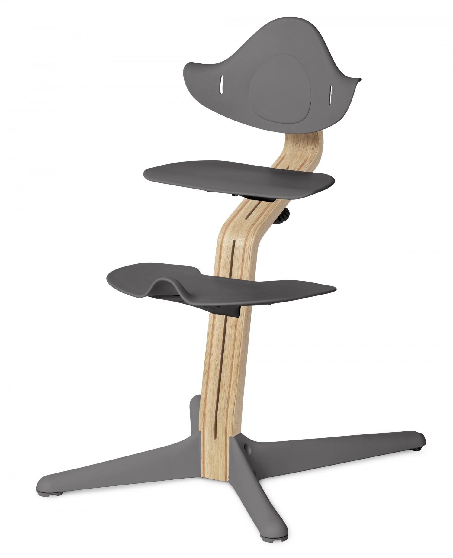 NOMI highchair meegroeistoel Basis eiken wit oiled en stoel grijs