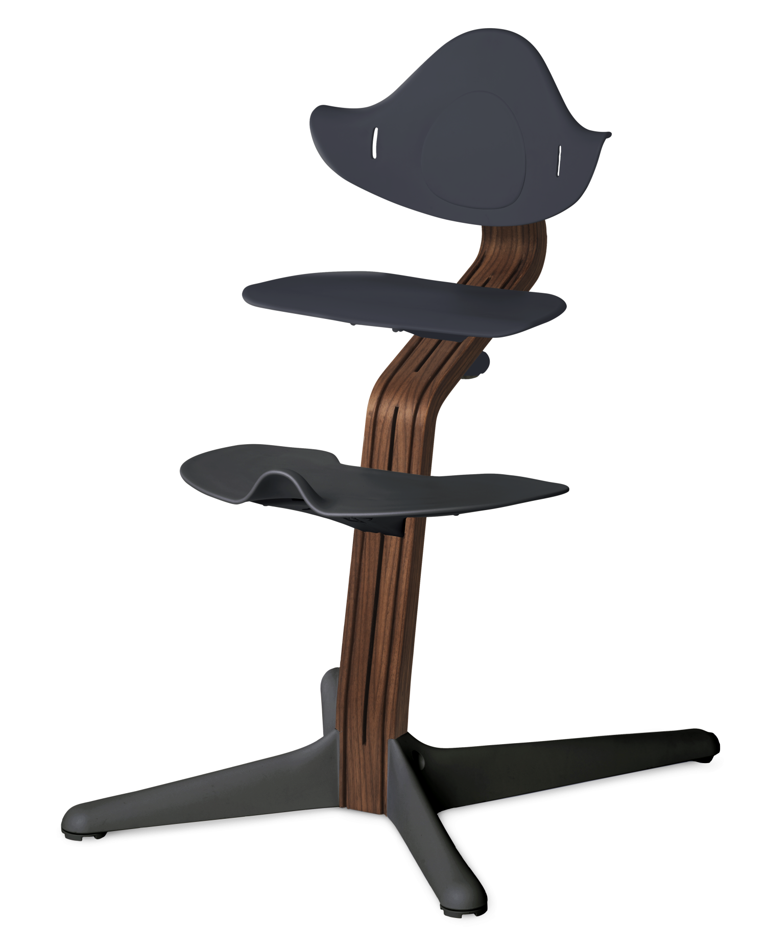 NOMI highchair meegroeistoel Basis walnoot nature oiled en stoel anthraciet