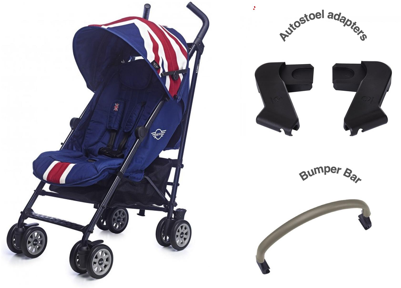 Easywalker Set van Mini by Easywalker Union Jack Classic �n autostoeladapters �n bumper bar
