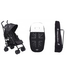 Easywalker Aanbiedingsset van Mini by Easywalker buggy+ LXRY black + Easywalker voetenzak oxford black + Easywalker transport tas