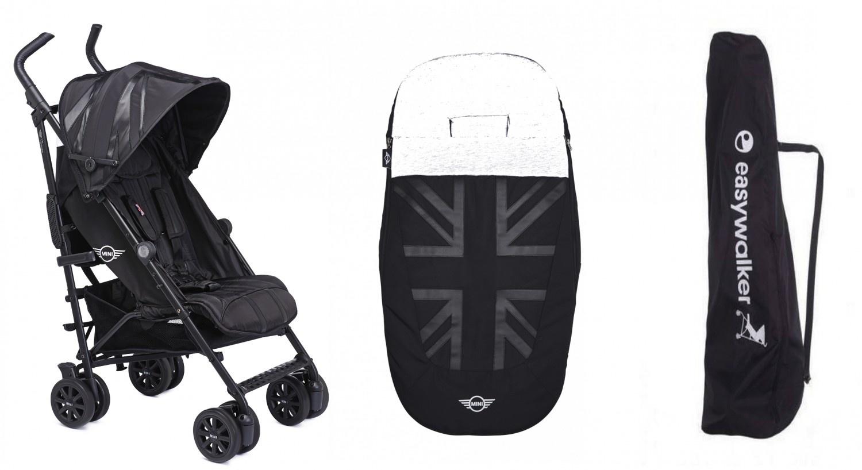 Easywalker Aanbiedingsset van Mini by Easywalker buggy+ LXRY black + Easywalker voetenzak oxford bla