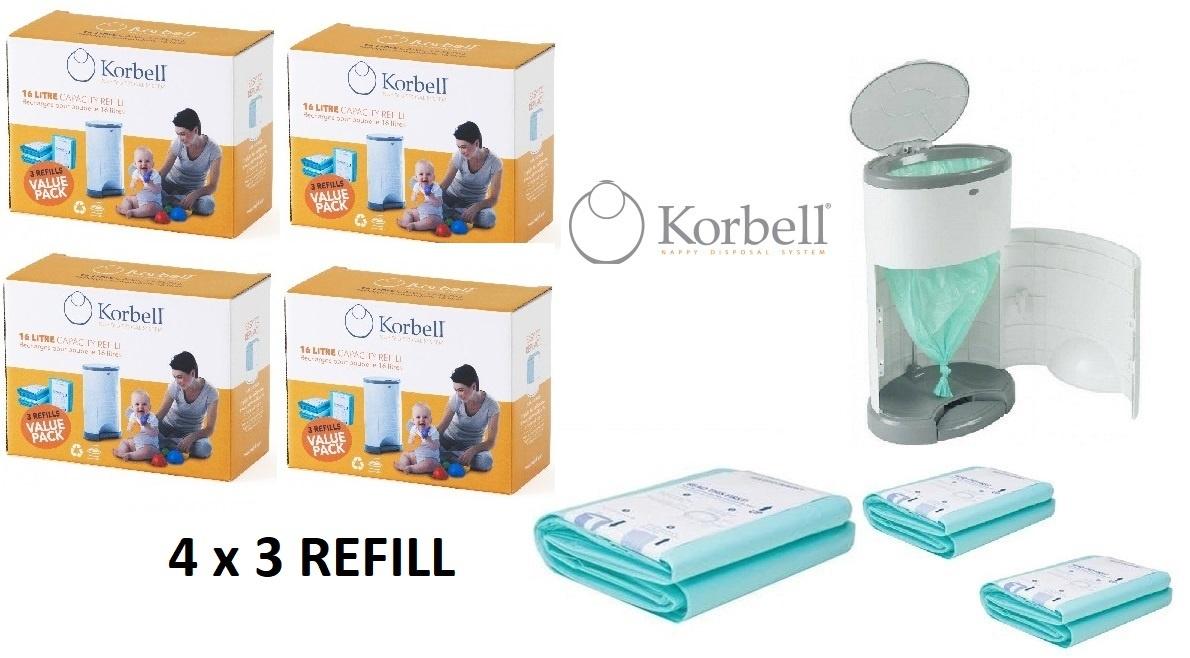 Korbell Korbell Luieremmer navulling - 15L zak - 4 x 3 stuks