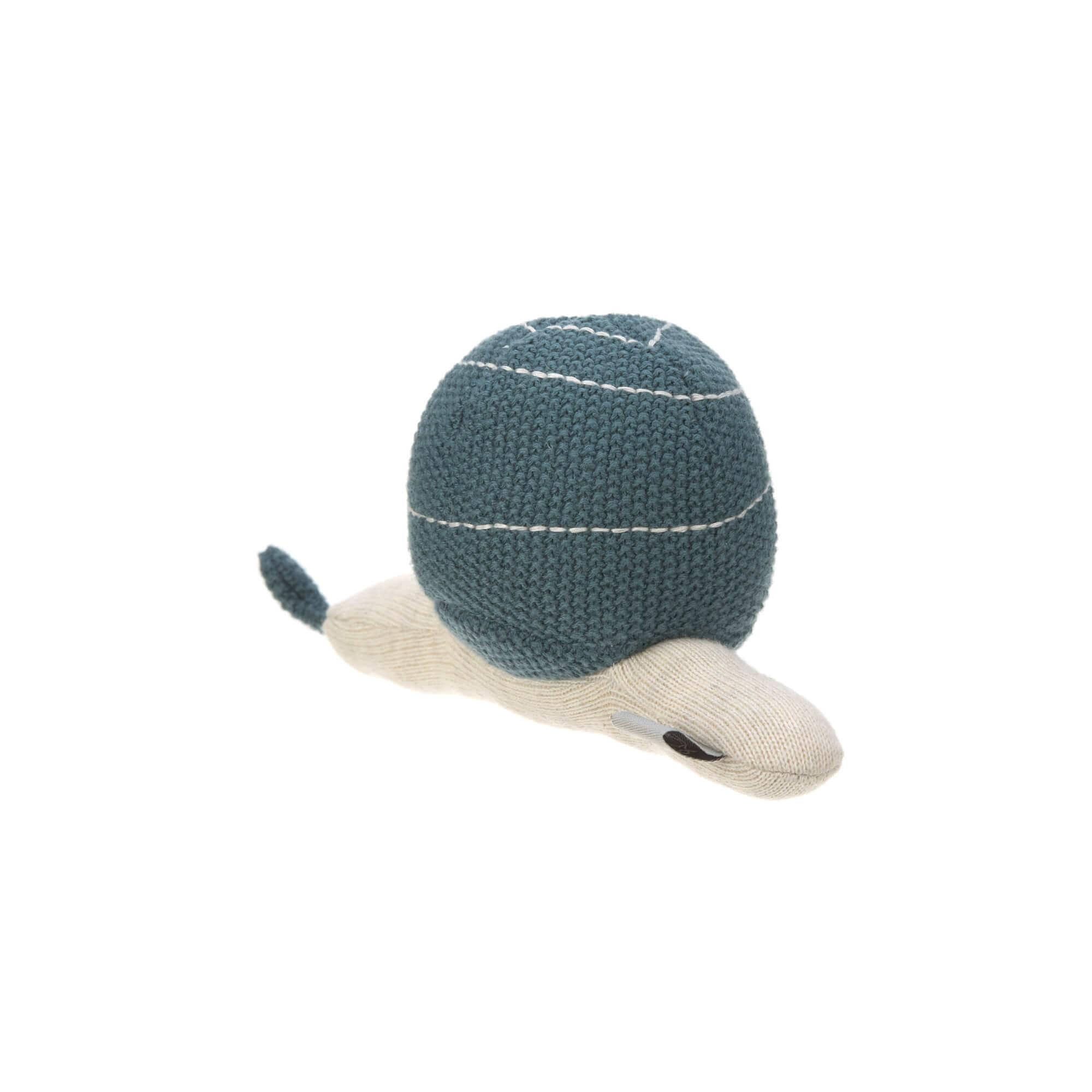 Lässig Lässig Strickspielzeug und Kuscheltier mit Rassel Garden Explorer Schnecke blau