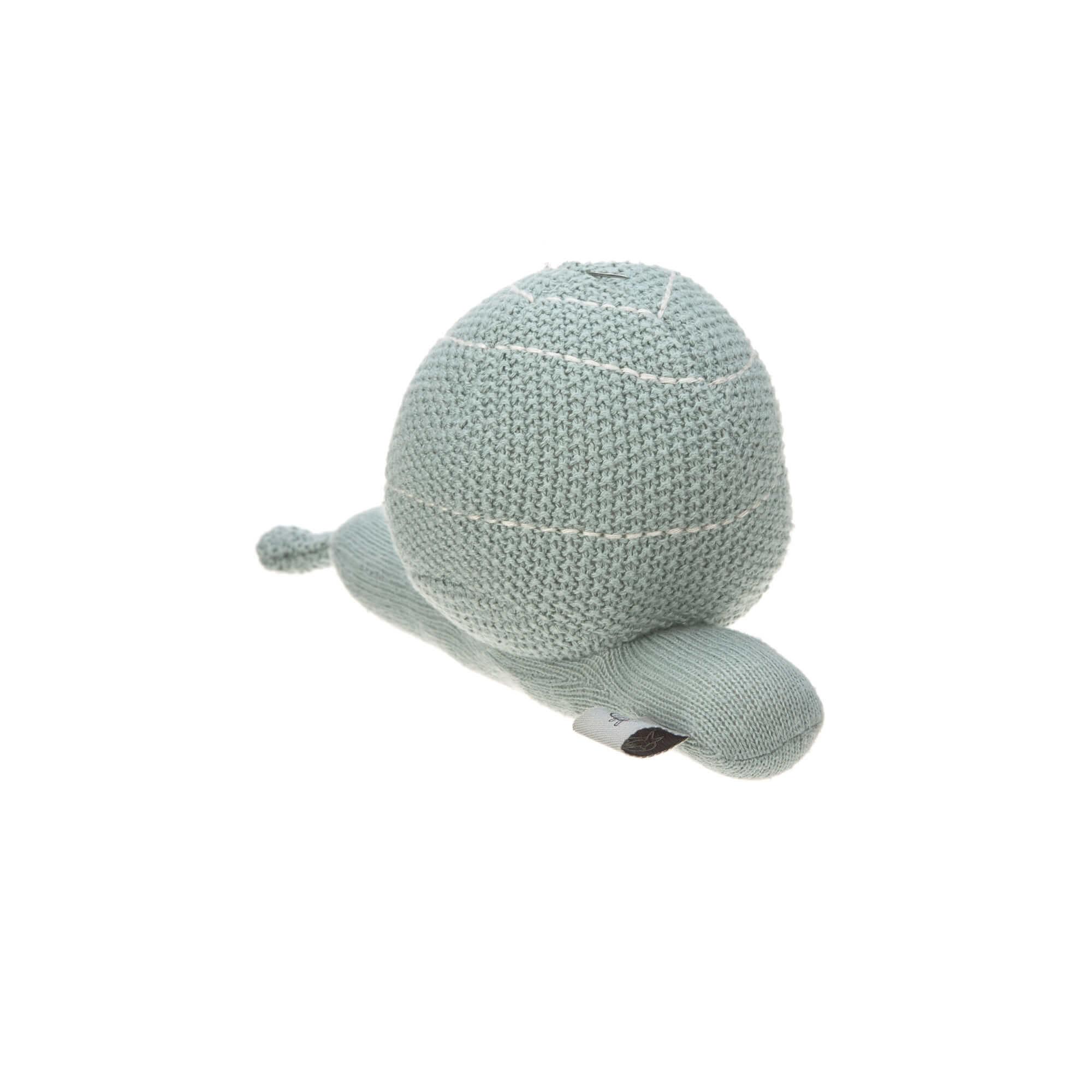 Lässig Lässig gebreid speeltje en knuffel met rammelaar Garden Explorer Snail blue