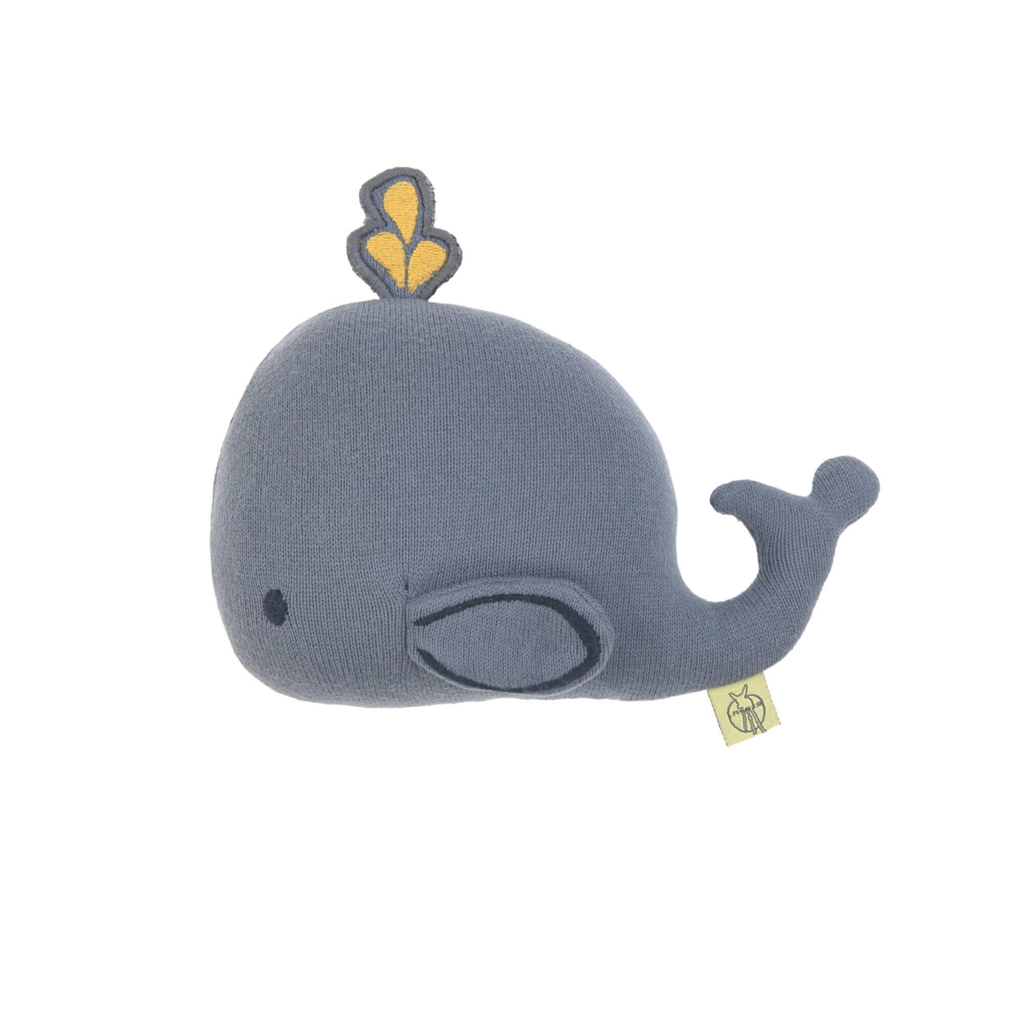 Lässig gebreid speeltje knuffel met rammelaar knetter Little Water Whale