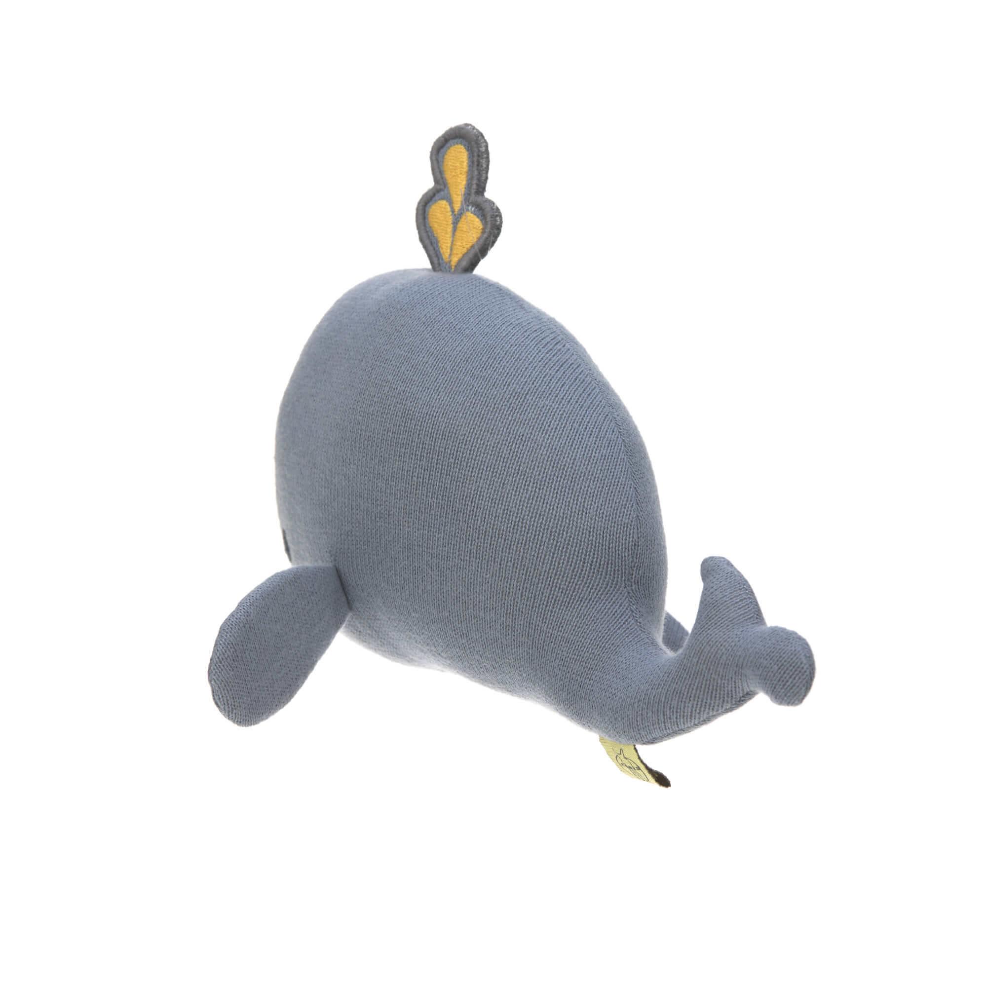 Lässig Lässig Strickspielzeug Kuscheltier mit Rassel knisternder kleiner Wasserwal