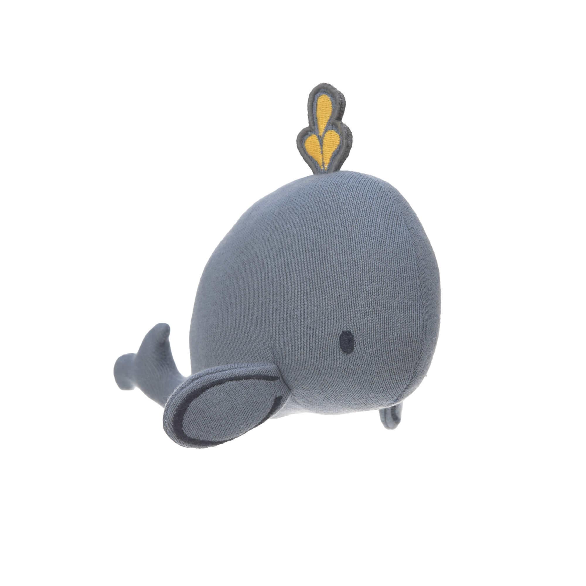 Lässig Lässig gebreid speeltje knuffel met rammelaar knetter Little Water Whale