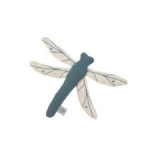 Lässig Lässig gebreid speeltje en knuffel met rammelaar knetter Garden Explorer Dragonfly blue