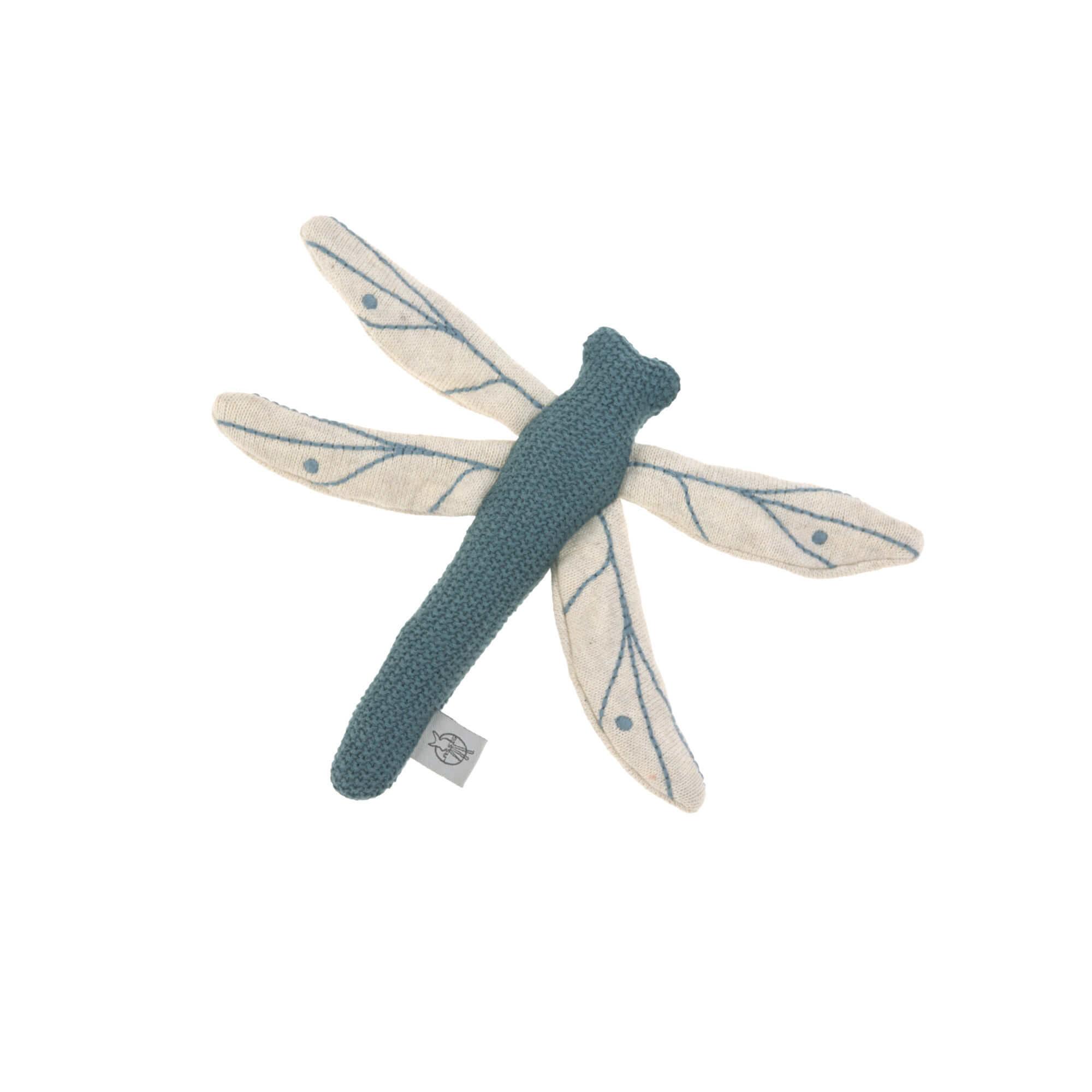 Lässig gebreid speeltje en knuffel met rammelaar knetter Garden Explorer Dragonfly blue