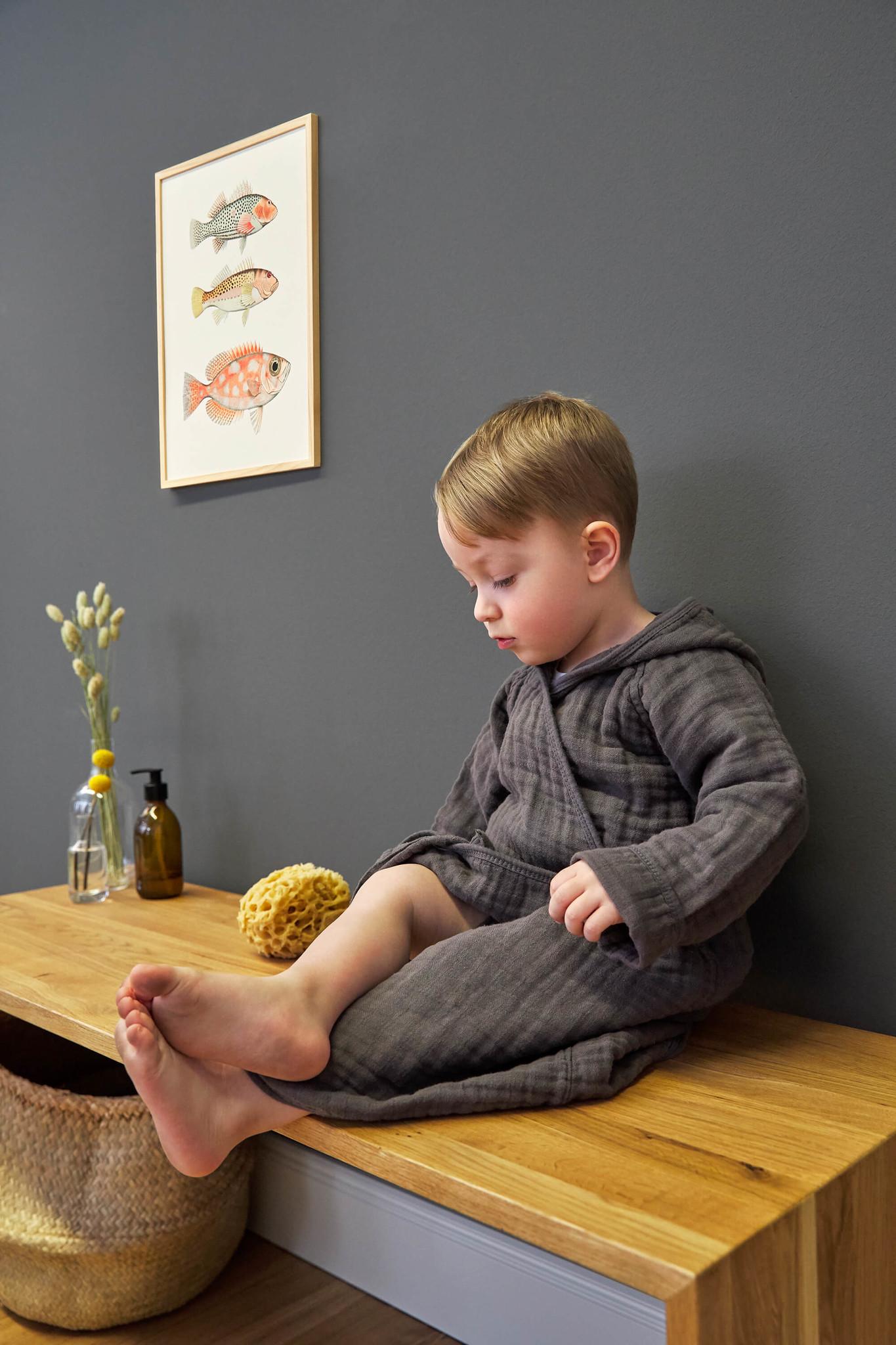 Lässig Lässig Muslin badjasje anthracite