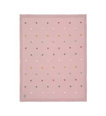 Lässig Lässig gebreide deken GOTS Dots dusky pink 80 x 110 cm
