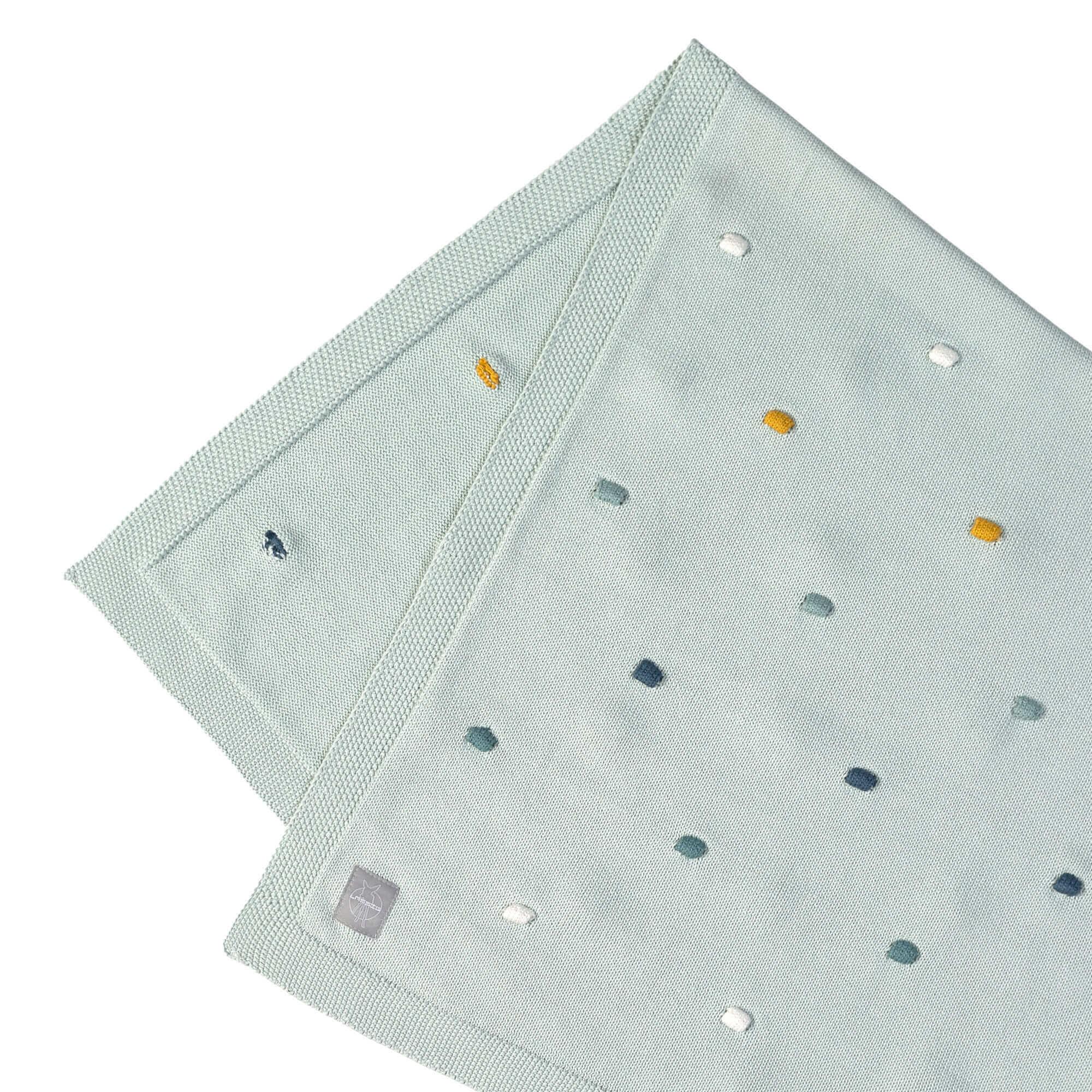 Lässig Lässig Strickdecke GOTS Dots Light Mint 80 x 110 cm