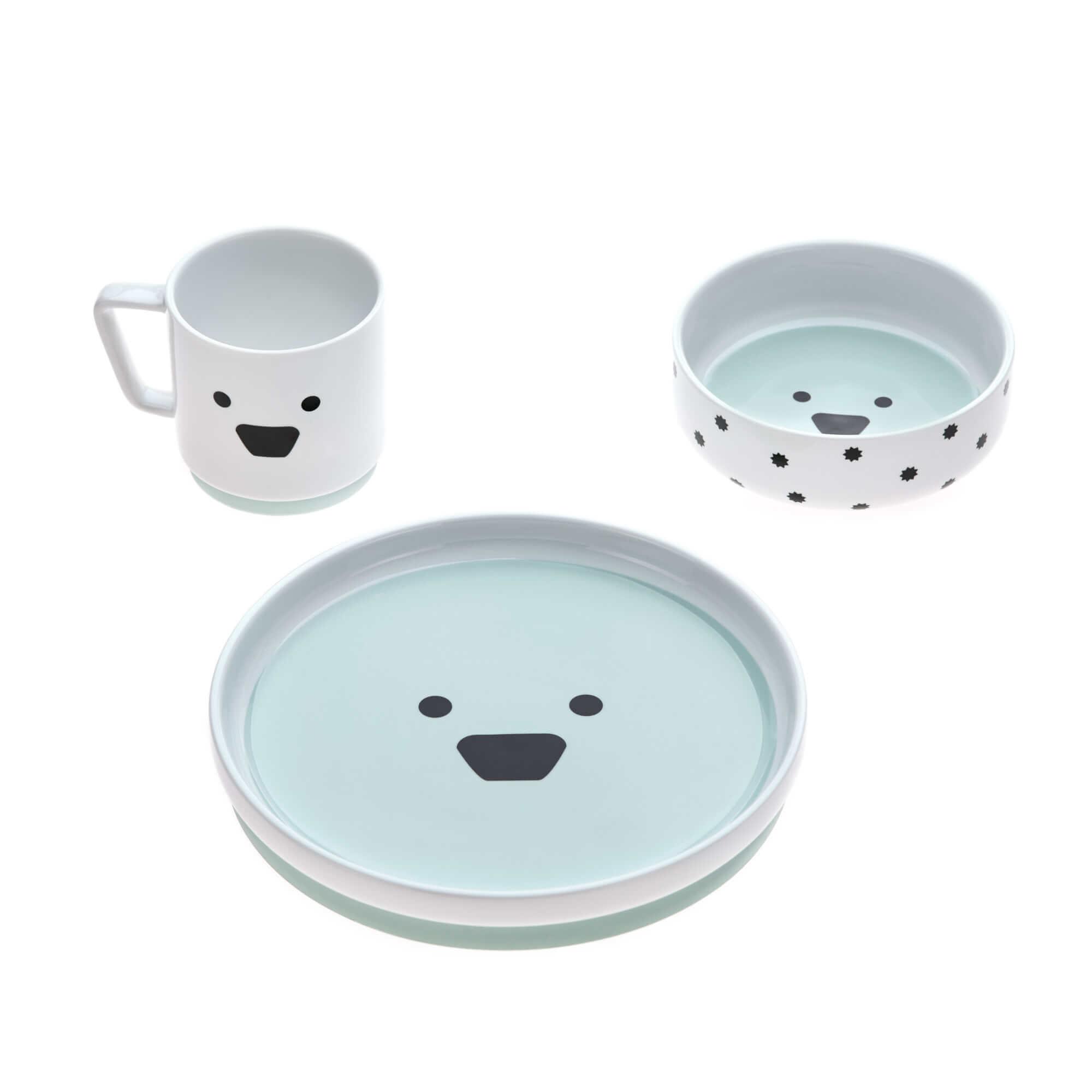 Lässig Lässig Geschirr Set Porzellan und Silikon Little Chums Dog