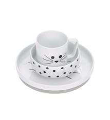 Lässig Lässig Geschirr Set Porzellan und Silikon Little Chums Cat