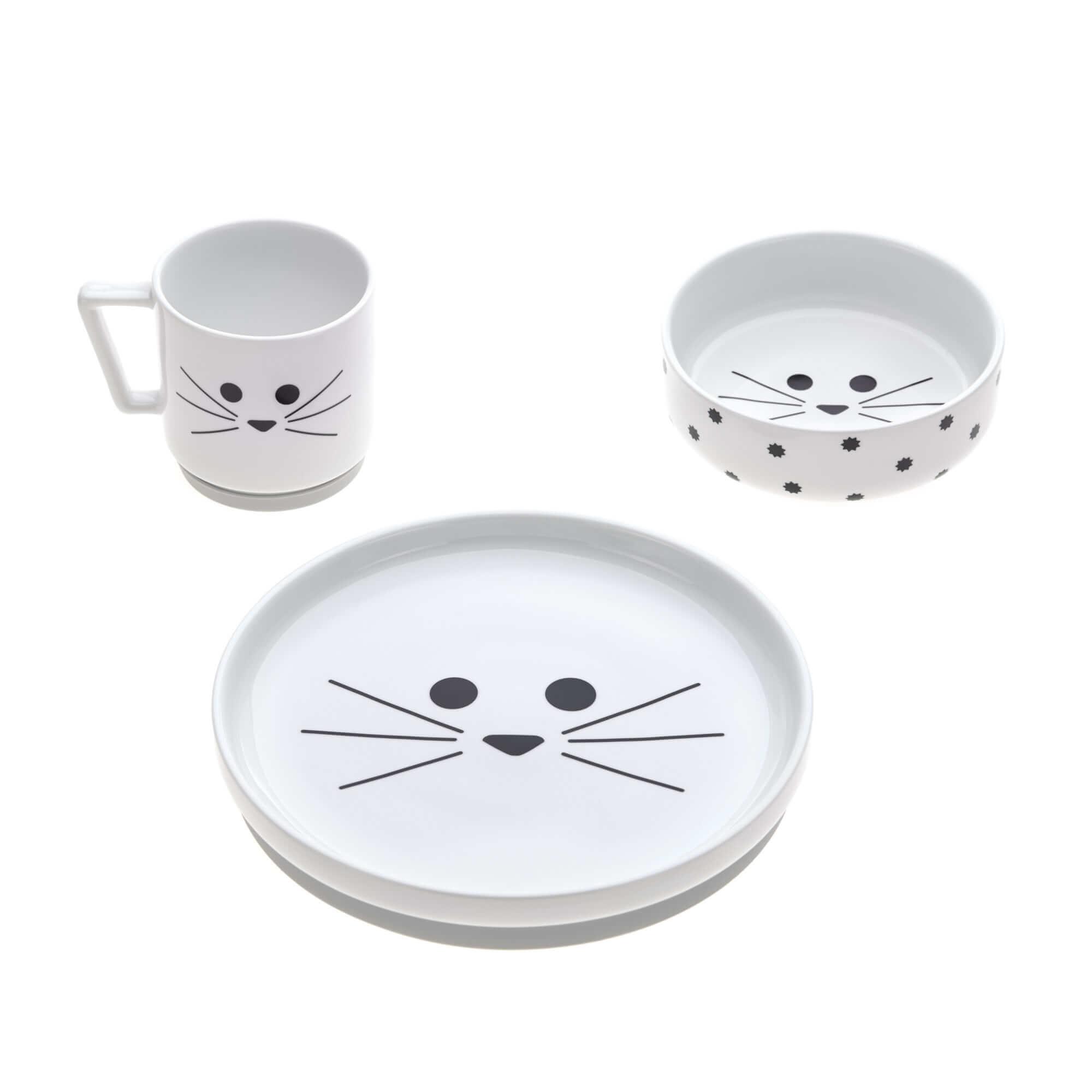 Lässig Lässig Servies set porselein en Siliconen Little Chums Cat